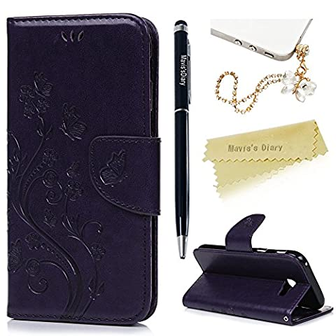 Mavis's Diary A5 Case , A5 Case (2017 Model) - PU Leather Wallet Flip Cover Classy Butterfly Flowers Embossed Design Magnetic Closure Card Holders Case for Samsung Galaxy A5 2017 with Hand Strap & Butterfly Dust Plug & Stylus Pen - Purple (Not for 2015/2016