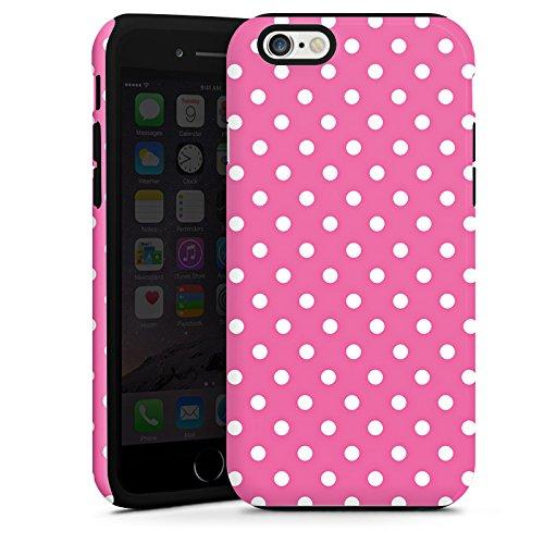 Apple iPhone 6 Housse Étui Silicone Coque Protection Points Rose vif Polka Cas Tough terne