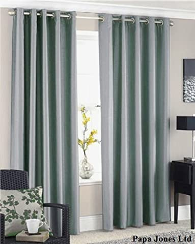 Papa Jones Ltd FAUX SILK LINED CURTAINS WITH EYELET RING TOP 9 COLOURS, 4 SIZES. (Silvery grey, 66 x
