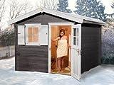 Saunahaus 106 - Variante: 1 OS, Ofen: 7,5 kW Saunaofen, Steuerung: multifunktional mit Digitalanzeige, Außenmaße Haus BxTxH: 300x280x251 cm, Außenmaße Sauna BxTxH: 194x144x199 cm