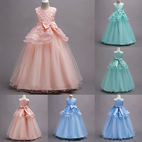 IWEMEK Kids Big Girls Tulle Lace Gauze Flower Bowknot Dress School Girls Communion Ball Gown Dance Pageant Birthday Party Prom Evening Bridesmaid Wedding Dress Sleeveless Floor Length 5-16 Years