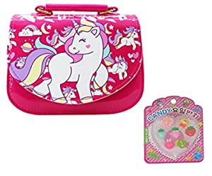 Asera Combo of Plastic Unicorn Sling Bags/Shoulder Bag/Hand Bag/Purse with Fancy Finger Rings for Girls Kids Birthday Return Gifts Bhaiyadooj for Sisters   Multicolour