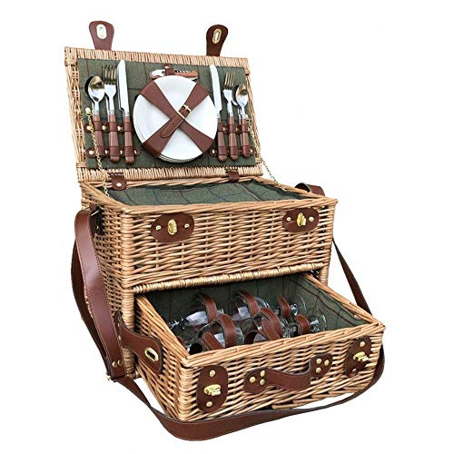 Red Hamper 4 Personen Green Tweed Korb Picknick Korb mit Schublade -