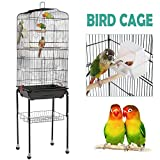 Yaheetech Large Metal Parrot Cage Bird Cage for Budgerigars Cockatiels Monk Parakeets Golden Parakeets with Perch Stand and Wheels
