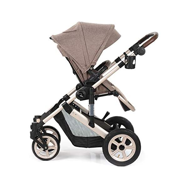 Roma Moda Pram, Includes Carry Cot, Rain Cover, Cup Holder and Bag - Tweed Roma Suitable from newborn - 15kg - Raised backrest in the carry cot Lightweight aluminium frame - All round suspension - Easy fold All terrain tyres (rear air tyres and front foam tyres) Large hood with viewing window 8