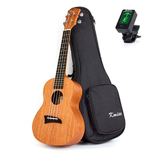 Kmis, ukulele tenore, 66 cm, in abete massiccio, palissandro delle Hawaii, ponte nero, con custodia e sintonizzatore., 26 inch D