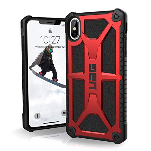 URBAN ARMOR GEAR UAG Monarch Funda Protectora para iPhone XS MAX, Color Rojo/Piel Negra