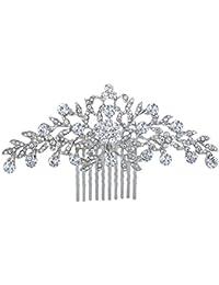 TENYE - Peineta para mujer, diseño de flores de cristal austriaco, color plateado