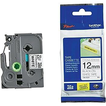 Brother - TZe-S231 - Ruban cassette 12 mm Noir sur blanc - Adhésif puissant