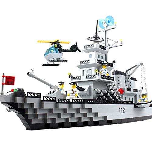 ELVVT 70 * 40 cm große Cruiser 970 stücke baustein Kinder und Erwachsene Geburtstag Weihnachten Sammlung DIY Geschenke 8 Puppen 1 Hubschrauber -