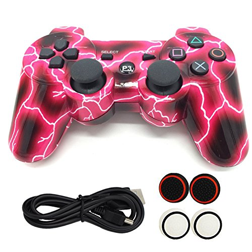 Yins PS3 Sechs Achse Dual Shock Bluetooth Vedio Adapterkabel Game Controller Wireless Gamepad Hydro getaucht Vergoldung Joypad für Sony Playstation 3 - Sony Controller Wireless Ps3