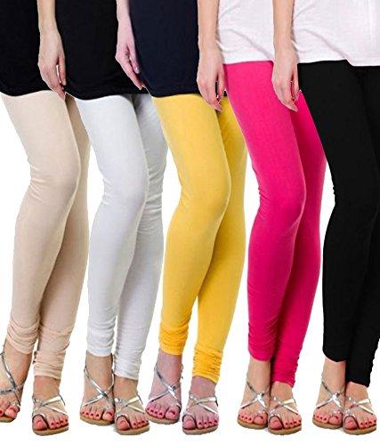 M.G.R Women\'s Cotton Lycra Churidar Leggings Combo (Pack of 5 Pink ,Skin ,White ,Yellow ,Black) - Free Size