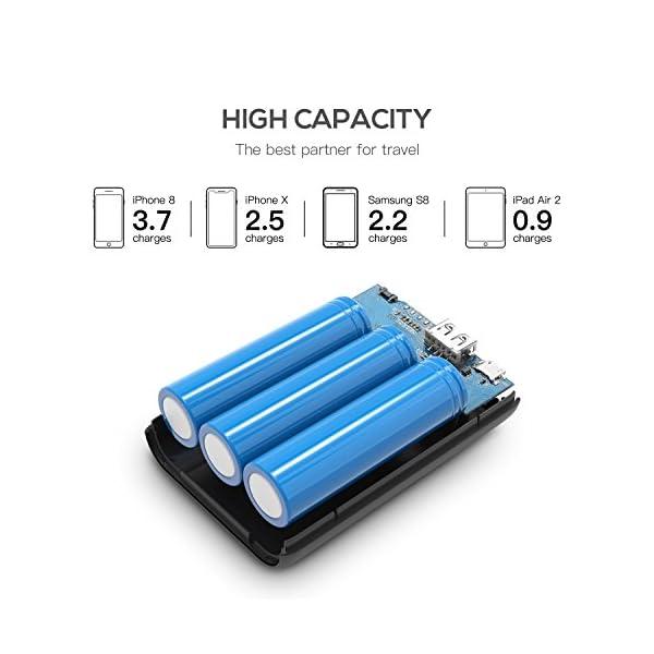 10000mAh Powerbank, Puridea Batteria Esterna per Cellulare Portatile (2 Puertos, LCD Indicada) Power Bank para iPhone 7… 2 spesavip