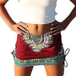 A-LíNea Falda Con Estampado ÉTnica Para Chica /Mujer LHWY, Falda Con Estampado De ÁFrica ExóTico Falda De Cintura Alta Verano (Rojo, L)