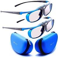 """Doppelpack 4.GENERATION   DLP PRO 4G, """"Blue Heaven"""" Original von Hi-Shock® GERMANY   HighEnd DLP Link 3D Brille für alle 3D DLP Beamer   Ultra leicht, hell und smart   Perfekt mit Optoma HD131x, HD25, BENQ w1070,W 1080ST, W750, mw519, Acer H7532BD, H6510BD, H7531D   Modell: YDD3PG, 96-144Hz, 32g, USB aufladbar, blau, verschiedene Farben erhältlich   inkl. KAJFOO SPIEGELSCHUTZ + LCD CLEANER + OFFIZIELLER SUPPORT + 3 JAHRE DEUTSCHE GARANTIE"""