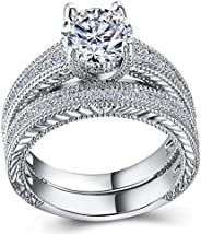 CHARHODEN Classic Fashion White Gold Jewelry White Gold Plated Double loop Ring Size 8