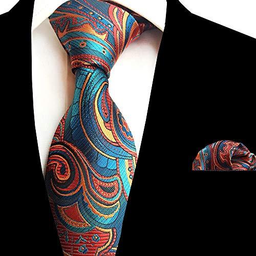 Punkt-kragen-gestreifte Krawatte (SHIJING Ricnais New Floral Herren Krawatte Taschentuch Set Jacquard Gewebte Seidenkrawatte 8cm Gestreifte Paisley Krawatte für Herren Anzug Business Hochzeit,4)