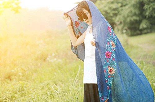 Léger Écharpe douce / Fashion Châle pour Lady / broderie Écharpe Bleu