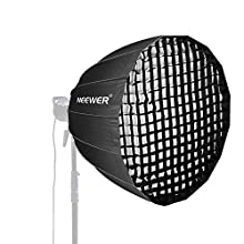 Neewer 48 inches Deep Parabolic Softbox with Bowens Mount, Removable Internal&External Diffuser and Grid, Quick Folding Softbox Diffuser for Photography Speedlites Flash Monolight and More