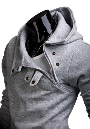 BOLF Herren Kapuzenpullover Sweatshirt Hoodie Pullover Sweatjacke Sportsweastshirt Mix 1A1 Grau