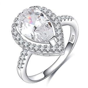 Impression 1PCS Ringe Tropfen Ring Diamant-Ring Mode-Diamant-Ring Open Glas Girl Schmuck-Zubehör-Valentinstag-Geschenke Hochzeit Ring-Silver