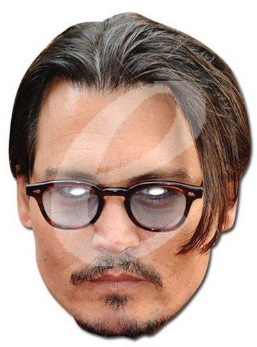 Johnny Depp Prominentenmaske, Papp Maske, aus hochwertigem Glanzkarton mit Augenlöchern, Gummiband - Grösse ca. 30x21 (Kostüme Depp Johnny)