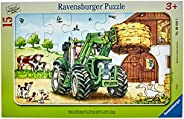 Ravensburger Barnpussel – 06044 traktor på gården – ramppussel för barn från 3 år, med 15 delar