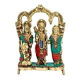 Collectible India Brass Ram Darbar Statue - Lord Rama Laxman and Sita Religious Idol Indian Art Sculpture - 27.5 x 20.0 x 7.5 cm