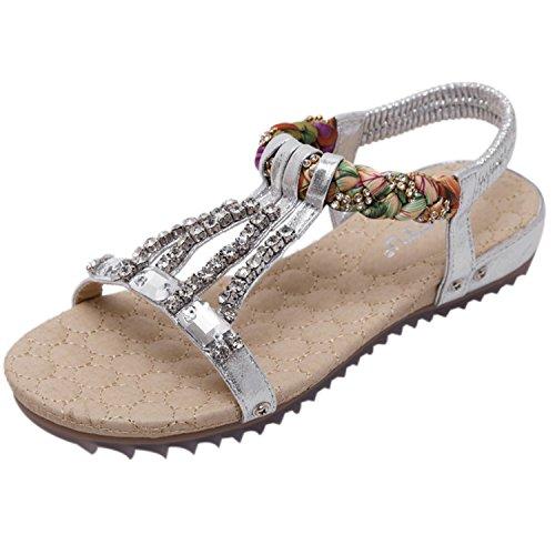 Oasap Women's Bohemian Rhinestone Open Toe Flats Sandals silver