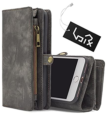 Urvoix iPhone 6 Plus / 6S Plus Leather Vintage Zipper Wallet Case / ID Credit Card Cash Holder / Multi-functional Phone Cover for 5.5