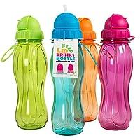 Prodbuy Set of 4 Assorted 600ml BPA Free Plastic Flip Lid Bottles with Straws
