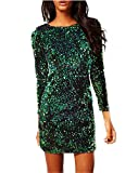 Minetom Donna Slim Fit Vestito Matita Paillettes Maniche Lunghe Scollo A V Abito Bodycon Dress Mini Vestito da Sera Cocktail A Verde IT 40