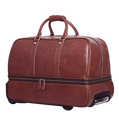 Leathario men 39 s leather luggage wheeled duffle leather travel bag red brown buy online in for Leather luggage wheeled duffel