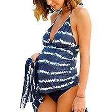 Traje de baño de Maternidad - Mujer Tallas Grandes Pregnancy Halter Embarazo Traje de Baño Floral/Polka Dot/Rayas Tankinis Sets Swimsuit Ropa de Playa