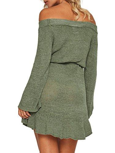 Simplee Apparel Damen Knielang Kleid Elegant Langarm Schulterfrei  Strickkleider mit Trompete Ärmel Grün 92445673ad