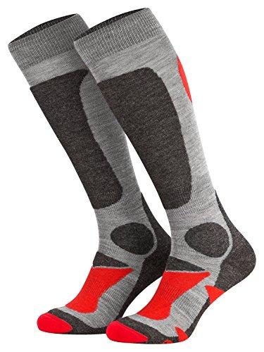 Piarini 2 Paar Unisex Skisocken Skistrumpf Herren, Damen und Kinder für Wintersport, Snowboard atmungsaktive Knie-Strümpfe Farbe Grau-Rot Gr.35-38 (35 Herren Bekleidung)