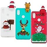 YKTO Hülle Xiaomi Mi A2 XiaomiMi 6X Case 5.99 Zoll 2018 3D Weihnachten Handyhülle [3 Stück] Stoßfest Weich Silikon Schutzhülle Weihnachten Motiv Handytasche für Xiaomi Mi A2 (Mi 6X)