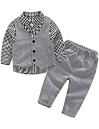iBaste Niños de manga larga del chaleco caballero camisa a cuadros tres conjuntos Camiseta de la Moda