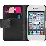 Housse iPhone 4 4s  Coque iPhone 4 4s | JAMMYLIZARD | Housse portefeuille Classique aspect cuir range cartes fermeture magnétique, Noir