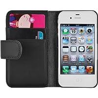 iPhone 4 Hülle, JAMMYLIZARD Ledertasche Flip Cover für iPhone 4 und 4s, SCHWARZ