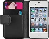 JAMMYLIZARD Housse iPhone 4 4s Coque iPhone 4 4s Housse portefeuille Classique aspect cuir range cartes fermeture magnétique, Noir