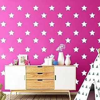 Wandora W1368 Wandtattoo 100 Sterne I weiß 5cm Durchmesser I Aufkleber Kinderzimmer selbstklebend Stars Kinder Wandsticker Wandaufkleber