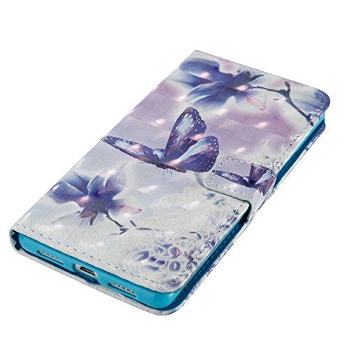 Huawei P9 Lite Hülle , Tasche für Huawei P9 Lite Premium 3D Mandala Geldbeutel Kunstleder Flip Taschenhülle Handytasche Rückseite Schale für Huawei P9 Lite (5.2 pouces) Bling Magnetverschluss Kartenfä Schmetterling