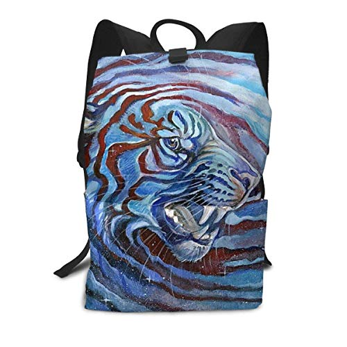 Einst Starry Sky Tie Dye Siberian Tiger King Blue Daypack, Large Capacity Shoulder Bag Reisen Hiking Backpack, College Schule Bookbag Gym Outdoor Hiking Bag Laptop Backpack Daypack (Blue Sky Tie-dye)