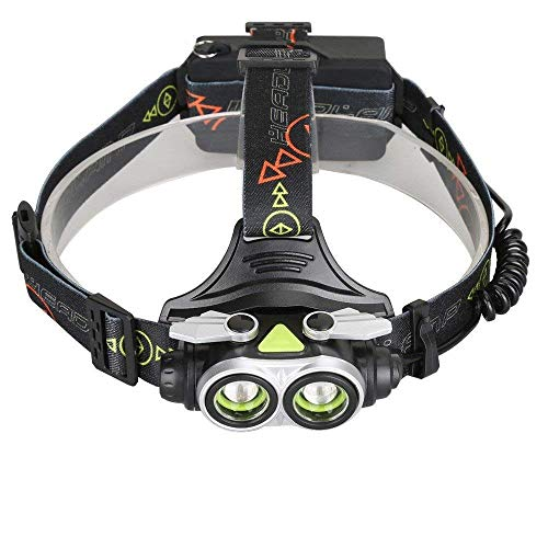 RMXMY USB-Lade-Dual-Lampe Fernlicht starkes Licht Scheinwerfer rotierenden Fokus Outdoor-Reiten Jagd Suche Bergmann Lampe einstellbare Scheinwerfer einstellbarer Winkel 4-Modus wasserdichte Taschenlam (Dekorierte Kunststoff-taschen)