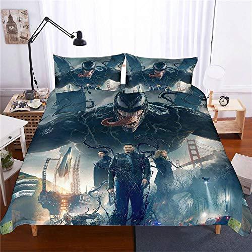 bed linings Bettwäsche-Set 3D Venom Marvel 3-teiliges Set Bettwäsche 100% Mikrofaser Für Geschenke (1 Bettbezug + 2 Kissenbezüge) C-Queen(228cm*228cm)