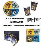 Kit Harry Potter 16 enfants Complet Anniversaire (16 assiettes, 16 gobelets, 20 serviettes, 1 nappe) fête