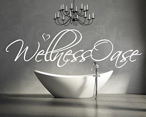 XL Wandtattoo für Ihr Badezimmer, Wohnzimmer, Bad 68045-110×28 cm, ~ Schriftzug: Wellness Oase ~ Wandaufkleber Aufkleber für die Wand, Fliesen, Tapetensticker aus Markenfolie, 32 Farben wählbar