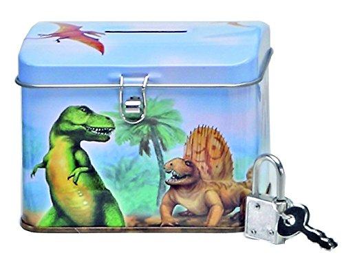 kleine Spardose Dinosaurier mit Schloß Kinder Dino