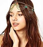 Aukmla Crown Head Chain Headpiece Jewelry Women Ladies Fashion Gothic Headdress Bohemia Headwrap